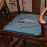 中式家具坐垫,亚麻布家具棕垫,亚麻绣花沙发垫