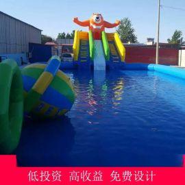 五环精诚户外大型成人儿童充气游泳池水上乐园充气城堡 充气蹦蹦床 滑梯 水上游乐设施
