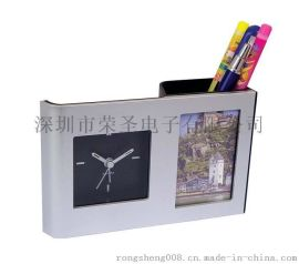 学生礼品相框笔筒钟 石英钟闹钟  座钟 笔筒时钟