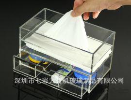 亚克力桌面口红指甲护肤品香水收纳盒 透明抽屉式化妆品收纳柜 水晶棉签盒子厂家
