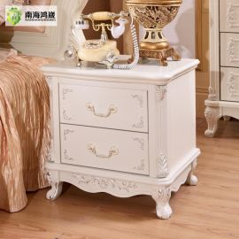 【南海鸿崴】 欧式法式床头柜白色储物柜