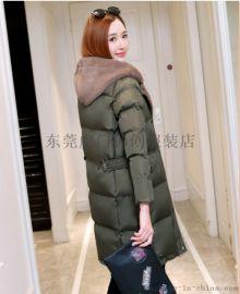 女装羽绒服秋冬女士外套长款棉服冬季热卖女装呢子大衣