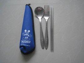 便携特价促销餐具,光柄勺叉筷套装