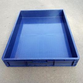 HDPE全新料塑胶周转箱 蓝色塑料浅盘 现货标准尺寸物流托盘供应