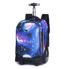 現貨2019春季新款學院風拉杆中性印刷學生旅行背包雙肩大輪子
