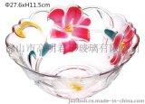 玻璃水果盘 怀旧百合花果碗 玻璃沙律盘 彩色玻璃器皿 君子JZ-385