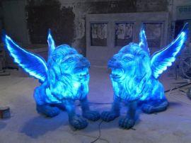 广场景观狮子雕塑 玻璃钢仿真动物雕塑 可发光的狮子雕塑厂家
