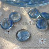 Wanyi 万意 鱼缸花瓶养花必备玻璃珠 蓝色花瓣纹扁珠 WY13002