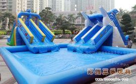 夏季儿童水上乐园充气支架水池水滑梯价格厂家直销