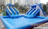 夏季兒童水上樂園充氣支架水池水滑梯價格廠家直銷