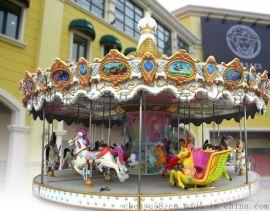 郑州广场16座豪华旋转木马生产 厂家 儿童电动转马价格