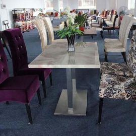 家具厂家定制长方形不锈钢餐桌简约餐厅酒店大理石餐桌