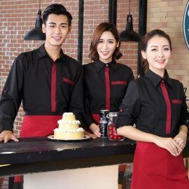 供應春夏裝餐飲酒店咖啡廳服務員工作服長袖男女襯衫工衣定制LOGO