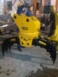 现代R130挖掘机,液压360度旋转抓木器