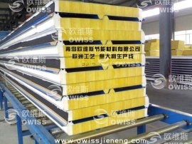 PU封边玻璃丝棉屋面夹芯板/聚氨酯封边玻璃丝棉保温板/彩钢板