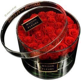 玫瑰花盒 亚克力玫瑰花盒 浪漫情人节玫瑰礼品包装盒 圆形玫瑰花盒
