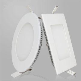 led面板灯 方形圆形天花板孔筒灯3W压铸平板灯2.5寸3寸6寸8寸
