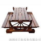 戶外實木桌椅三件套防腐木車輪桌椅休閒庭院桌椅
