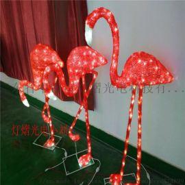 1.2米高滴胶火烈鸟 LED动物装饰灯 圣诞装饰灯
