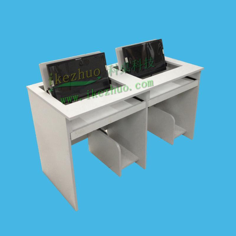 供应多媒体双人1.4米,1.6米,1.8米翻转电脑桌国外  电脑桌