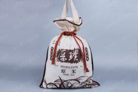 定做东北大米袋,订制5斤10斤棉布袋,抽绳棉布袋工厂定做