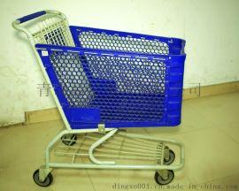 美式超市塑料手推购物车120L