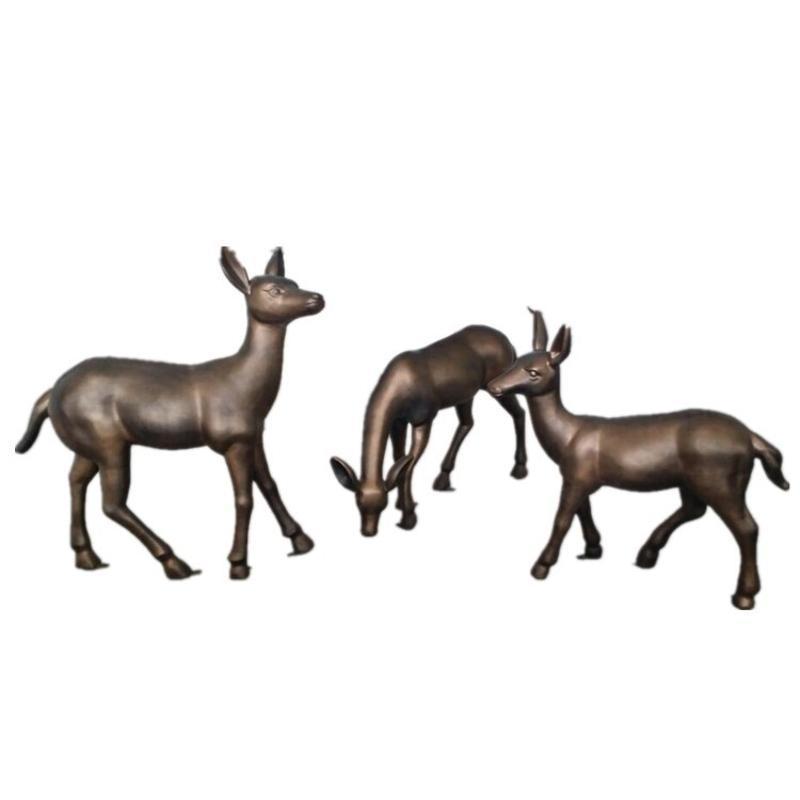 廠家可定做凰麗景觀雕塑動物中式圓雕玻璃鋼 玻璃鋼鹿子雕塑彩繪