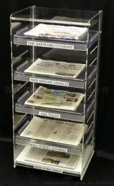 供应5层全透明压克力报纸架,亚加力报刊架,多层文件架