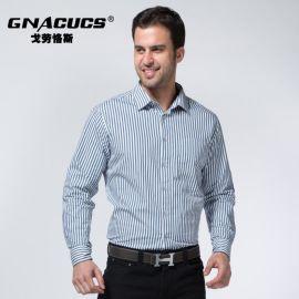 戈劳恪斯新款衬衫 商务休闲条纹衬衫 男士纯棉衬衫 **男装批发