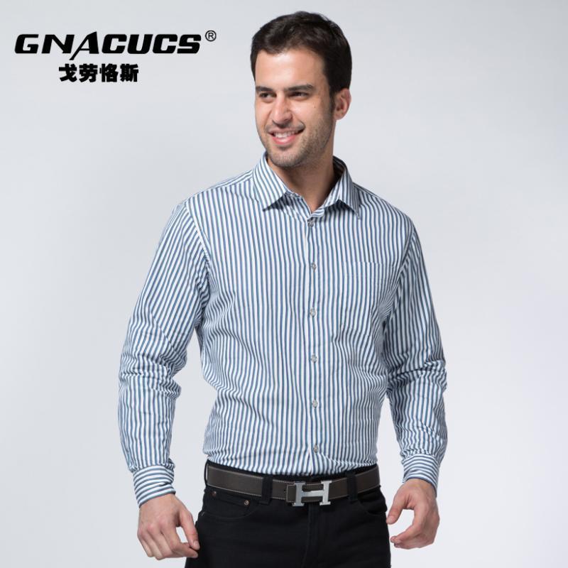 戈勞恪斯新款襯衫 商務休閒條紋襯衫 男士純棉襯衫   男裝批發
