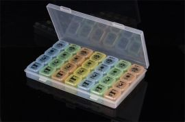 7彩28格药盒一周便携式药盒饰品收纳盒全新食品级PP塑胶盒