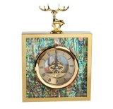 创意正方形不锈钢金属金色鹿头鲍鱼贝壳时钟座钟摆件样板间摆件