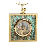 創意正方形不鏽鋼金屬金色鹿頭鮑魚貝殼時鐘座鐘擺件樣板間擺件
