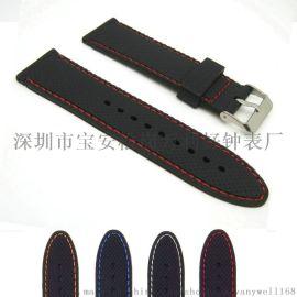 **热销18-24mm平头网纹车线硅橡胶表带