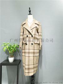 广州伊曼服饰2018新款,阿尔巴卡羊绒大衣走份批发