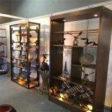 厂家直销高端红酒柜不锈钢中式钛金酒柜