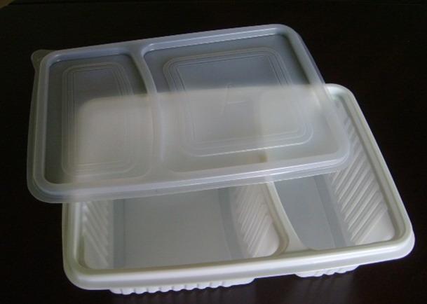 HZ-10 二格吸塑白色饭盒