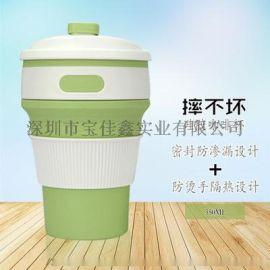 **热销款硅胶折叠咖啡杯随手马克杯防摔耐高温水壶