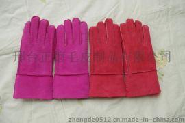 羊毛手套 手套 保暖皮手套 皮毛一体手套