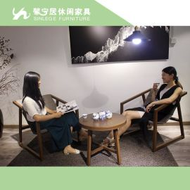 现代简约阳台家具|样板间桌椅|仿木几何桌椅|主卧客厅休息椅