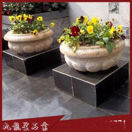 石雕花盆花钵、石雕花钵、黄锈石花盆、芝麻白花盆