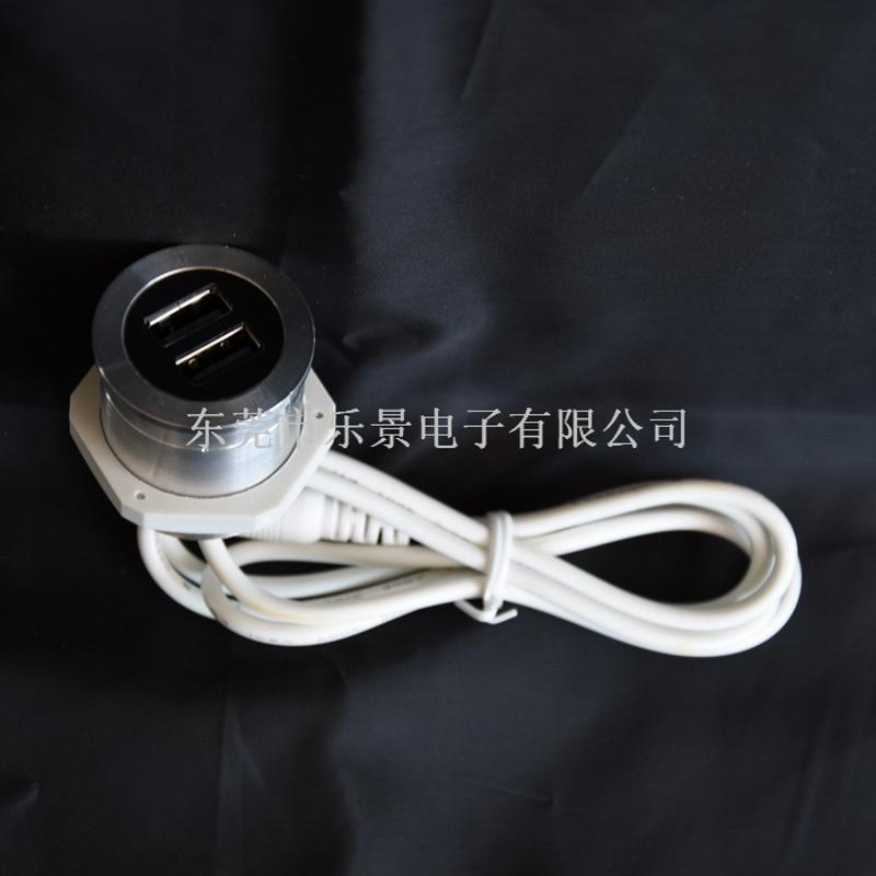 家具桌面USB充电插座太空舱沙发单人椅隐藏式充电插座双头双USB充