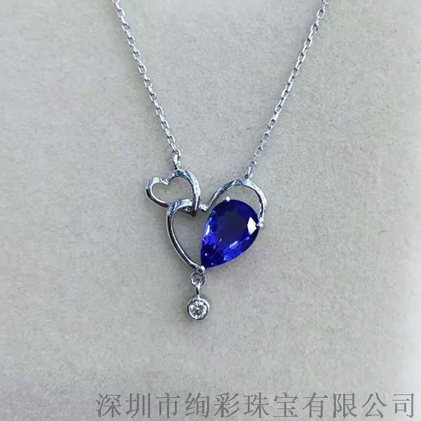 绚彩珠宝 18K金坦桑石锁骨链日常佩戴