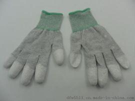 碳纤维防静电手套涂指涂掌浸胶手套浸PU无尘手套