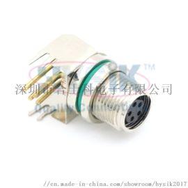 厂家直销M8 5芯弯针90度PCB焊板式插座M8
