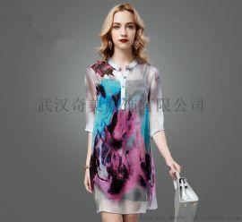 华丹尼品牌女装折扣尾货 夏季真丝连衣裙欧式风尚