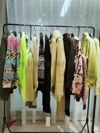 卡丽娅 品牌折扣女装 横间色织毛衣女装尾货批发