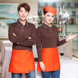春秋男女服务员工作服T恤长袖酒店餐饮奶茶店餐厅服务员服装定制