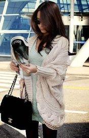 韩版女式蝙蝠衫毛衣长款开衫披肩秋冬时尚针织衫
