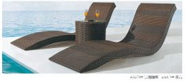 简约庭院阳台躺椅PE仿藤沙滩床椅